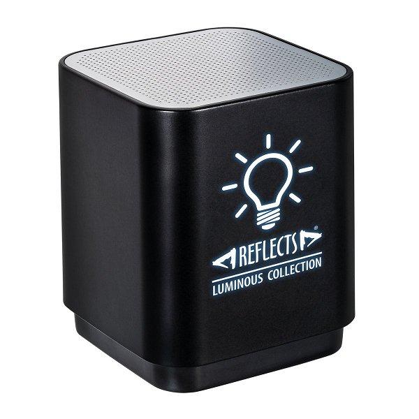 Bluetooth®-Lautsprecher mit Licht REFLECTS-GALAWAY incl. Laser engraving black veredeltes Muster